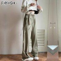 Women's Pants & Capris 2021 Autumn Fashion Jogging Women Street Loose High Waist Straight Drawstring Zipper Trousers Korean Pant