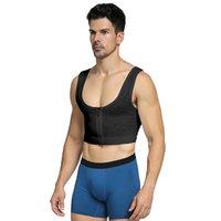 Chest Trainer Compression Corset with Zip Gynecomastia Bra Sexy Men Slimming Vest Posture Corrector Underwear