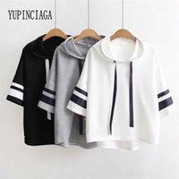 Yupinciaga mulheres webbing mangas curtas soltas cor sólida com capuz mangas listradas lace-up pulôver t-shirt novo verão camiseta 210310