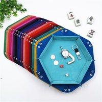 Paniers de stockage de bureau contient pliante Boîte en cuir multicolore PU Bijoux hexagonal Velvet Bijoux Cosmétiques DIC Boîtes de jeu DWF8531