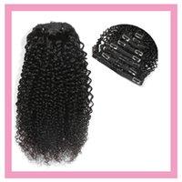 """Индийские RAW Human Virgin Extensions 8-24 """"Клип в продуктах для волос Kinky Curly 120g Зажим на волосы натуральный цвет"""