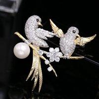Xuye Moda Düğün Parti Kuşlar İnci Broşlar Tasarım Marka Takı Mikro Açacağı Kübik Zirkonya Romantik Lovebirds Korsaj