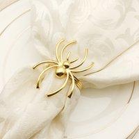 Ouro preto aranha em forma de guardanapos para 2021 Halloween partido decoração hotel jantar mesa guardanapos