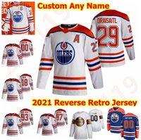 2021 Reverse Retro Edmonton Öler Hockey-Trikots 56 Kailer Yamamoto Tyson Barrie Evan Bouchard Philip Brokererg Caleb Jones Custom genäht