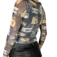Women Blouses Vintage Harajuku Mesh Sheer Women T-Shirts Y2K Aesthetic Portrait Print Long Sleeve Crew Neck Slim Fit Top Tees 2021 New