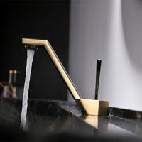 Pirinç Fırçalanmış Gül Altın Gri Tilt Havzası Musluk Tek Kolu Anahtarı Mikser Dokunun Sıcak Soğuk Banyo Su Tasarrufu Mutfak Aksesuarları