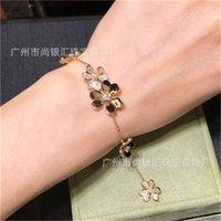 Venda quente 925 Sterling prata marca jóias para mulheres prata cadeiabracelete praty casamento jóias de ouro cor de cor trevo bracelete 22 u2