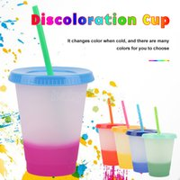 473ml 16oz Color Changing Cold Cups Reusable Plastic Tumbler With Lid And Straw Cold Cup Straw Cup Drinkware Kitchen Gadgets