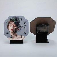 Sublimation Alarm Clock Decor MDF Cadre photo En Bois Gravure Blank DIY Ornements de Noël