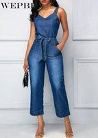 Wepbel femmina casual allentato taschino lavato in denim rompers jeans donne primavera estate vintage cinturino in denim tute tute tuta V9WC #