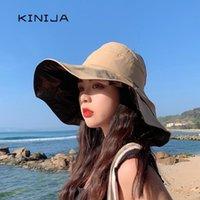 حافة واسعة القبعات الصيف طوي bowknot دلو قبعة للنساء في الهواء الطلق الشمس القطن القطن الصيادين boonie كاب المضادة للأشعة فوق البنفسجية بنما الشمس