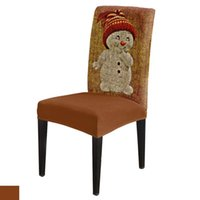 Chair Covers Christmas Burlap Snowman Cover Stretch Living Room For Dining Home Decor