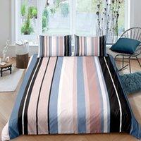 Bedding Sets 3D Printed Rainbow Stripe Duvet Cover Pillowcase Comforter Double Queen King Size 2 3PCS Bedclothes Home Textile