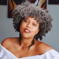 Afro Kinky Curly Human Hair Wigs With Bang Short Grey Wig for Black Women None Lace