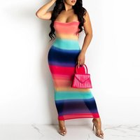 Casual Dresses Sexy Long For Women Sleeveless Open Back Striped Print Sundress Off Shoulder Party Maxi
