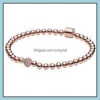 Link, Bracelets Jewelrylink, Chain Original Rose Gold Beads & Pave Crystal Sliding Bracelet Bangle Fit 925 Sterling Sier Bead Charm Diy Euro