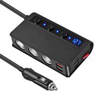 Cigarette Lighter Adapter 180W Car Charger 12V 24V 3-Socket Cars Power DC Outlet Splitter with 3 USB Ports 1 Type-C port