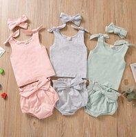 Abbigliamento per bambini Set per bambini indossare cotone puro cotone comodo senza maniche cinghie di arco top Triangle Shorts Fountyscarf 3piece Vestito DHE4929