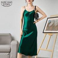 Luxo Brilhante Sundress Sundress Signin Sem Mangha Spaghetti Strap Sexy Imitação Silk Dress Mulheres Sólida Verde 13115 210417