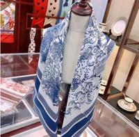 2021 New Fashion Signore Primavera / Estate Sciarpe 100% Silk Sciarpe Timeless Classic Paesaggio Stampa Scialle quadrato 90 * 90 cm senza scatola