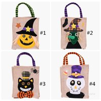 26*15cm Halloween Linen Tote Bag Pumpkin Candy Storage Bags Festive Supplies 4 Styles Halloween Decoration Handbag T9I001370