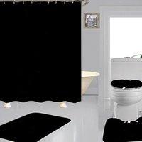 Trend Luxurious Print Shower Curtains Sets Hipster High-grade Four-piece Suit Bathroom Anti-peeping Non-slip Deodorant Bath toilet Mat