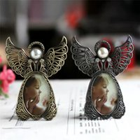 European Creux Métal Minitage Mini Photo Cadres Creative Belle Belle Ange Wing Classic Picture Porte Home Decor de mariage Cadeaux
