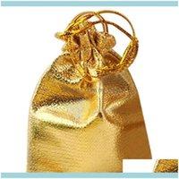 이벤트 축제 파티 용품 홈 Garden25pcs Dstring 부직포 패브릭 Voile 쥬얼리 호의 웨딩 캔디 선물 주머니 가방 (골든) 랩 박사