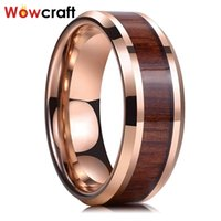 8mm Rose Gold Nature Wood Inlay Tungsten Body Ring para mujeres hombres con bordes biselados Bandas de compromiso Anillos 210310