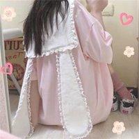 Women's Sleepwear QWEEK Ears Dress Women Kawaii Roomwear Summer 2021 Pijama Lace Nightdress Sailor Collar Nightie Navy Nightwear