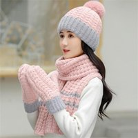 Hats, Scarves & Gloves Sets Fashion Women's Hat Scarf  Gloves Autumn-Winter Female Thickening Three - Piece Knitted Caps Lady Warm Beanies