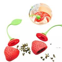 الفراولة شكل الغذاء الصف سيليكون الشاي infuser مصفاة تصفية السيليكا جل الشاي حقيبة الشاي تصفية الشاي أدوات كأس شماعات EWA3926