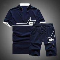 Men's Tracksuits Cropped Top+Shorts Suit Mens Sportwear Shorts Sets Outwear Tracksuit Men 2021 Summer Two Piece Set Short Sleeve T Shirt