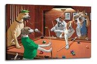 Hundar som spelar Pool Heminredning Stor oljemålning på kanfas Handmålat / HD-tryck Väggkonst Bilder Anpassning är acceptabel 21060230