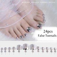 False Nails 24Pcs Toe Aurora Mirror Fake Press On For Foot Detachable Acrylic Girls