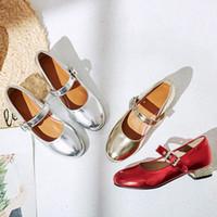 YQBTDL Nova Chegada Prata Ouro Vermelho Baixo Salto Bombas Senhoras Plus Size Verão Meninas Party Mary Jane Shoes para Mulheres Calcanhar G4sm #