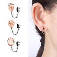 Screw Back Non perforated false ear clip nose ring magnet magnetic earring puncture jewelry human skeleton stud lion