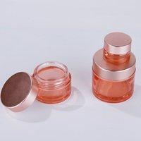 스크럽 로즈 골드 캡 유리 크림 병 핑크 화장품 컨테이너 5G- 100g 메이크업 샘플 포장 항아리