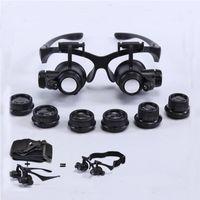 Molduras Headband LED Light Eyes Óculos Magnifier 2.5x 4x 6x 8x 10x 15x 20x 25x Lente óptica Lupa de vidro para reparo em casa Entrega rápida