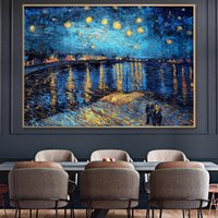 Van Gogh Famous Painting Reproduction On Canvas Starry Night Over Rhone Posters And Prints Impressionist Wall Art Decor Picture