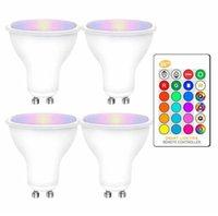 4 adet RGB LED Ampuller 8 W GU10 RGBW RGBWW Lambası Sıcak Beyaz GU 10 ile 16 Renkler IR Uzaktan Kumanda Bellek Fonksiyonu