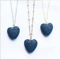 Corazón Lava-Rock Bead Largo Volcán Collar Aromaterapia Esencial Aceite Difusor Collares Negro Lava Colgante Joyería