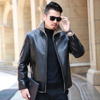 Men's Fur & Faux High Quality Winter Real Business Casual Leather Jacket For Men Fashion Brand Brown Sheepskin Jackets And Coats With Wool L