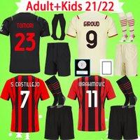Kit adulte + enfants avec chaussettes AC Milan 21 22 Jerseys de football Boys Ensembles Ibrahimovic Brahim Tomori R.leao Theo Rebic Enfants 2021 2022 Shirt de football Hommes costume à la maison troisième