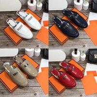 2021 Luxus Designer Oz Mules Hausschuhe Echtes Leder Sandalen Princetown Kelly Metal Kette Schuh Frauen Müßiggänger Klassische Dame Slipper Größe 34-42