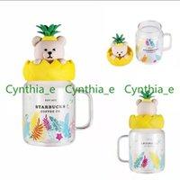 Starbucks Mugs 2021 Summer New Product 525ml Pineapple Bear Type Glass Mason Cold Water Mug Large Capacity Coffee Cup