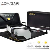 Aowear PhotoChromic النظارات الشمسية الرجال الاستقطاب النظارات الليلية القيادة النظارات عالية الجودة بدون شفة نظارات gafas