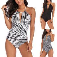 Bikinis Set 2021 Summer Sexy One Piece Maillot de bain pour femmes Maillot de bain Femme Solide Black Léopard Print Support de baignade 5xl