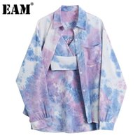 Frauen Blusen Hemden [EAM] Frauen Große Größe Bindung Casual Bluse Anzug Revers Langarm Lose Fit Hemd Mode Gezeiten Frühling Herbst 2021