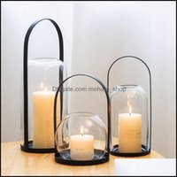 촛불 장식 촛불 촛불 노르딕 스타일 Aessories 유리 랜턴 낭만적 인 촛불 금속 럭셔리 벨라 스 장식 DI50ZT 드롭 델리